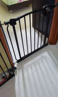 Used 3 sets of Lucky Baby Black 2 way smart swing safety gate with extra extension tall panels