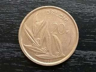 1982 Belgium 20 Francs Coin