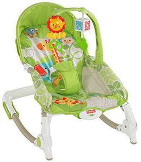 美國費雪牌 北鼻安撫躺椅 Fisher-Price newborn to toddler portable rocker. Green safari.