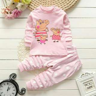 *FREE DELIVERY to WM only / Ready stock* Kids pyjamas peppa pig 5-12m 12-16m as shown design/color. Free delivery is applied for this item.