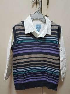 BABY Gap White Shirt with Stripey vest