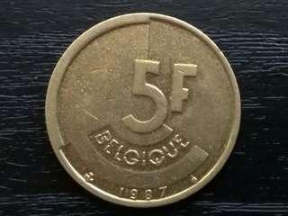 1987 Belgium 5 Frank Coin