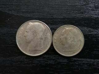 Belgium 1966, 1971 5, 1 Francs Coin