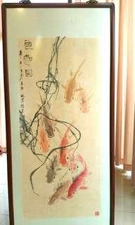 中国畫家林岑,九鲤图