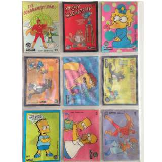 Full Set of 1993 Simpsons Series 1 Wiggle Cards (9 cards) + free sleeves!