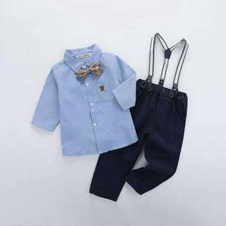 *FREE DELIVERY to WM only / Ready stock* Kids boy gentleman set 1-3yo as shown design/color. Free delivery is applied for this item.