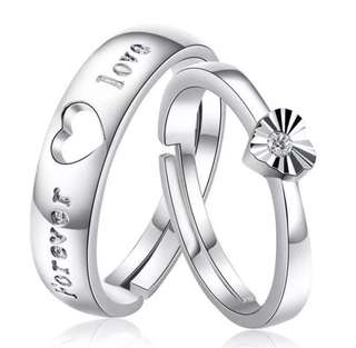 Forever Love Silver Couple Rings