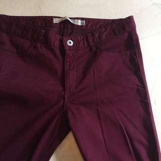 instock | giordano mid waist maroon pants