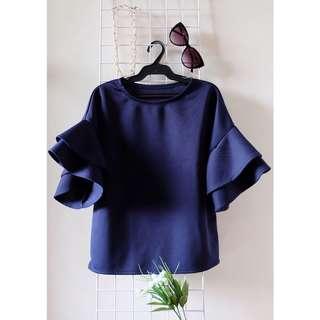 Royal blue ruffled sleeve top