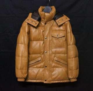 日本品牌MALE&CO 高檔立領連帽羽絨羊皮連帽保暖皮衣 真皮