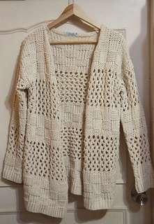 EyesCream 部落客款 秋冬 網狀 微厚 粗針織 米白色 罩衫外套 百搭 氣質 甜美 僅試穿近全新#女裝半價