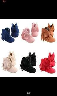 Kids Girl Solid Fringe Soft Soled Anti-slip Boots