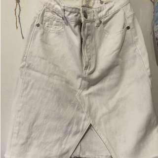 White Denim Split Midi Skirt
