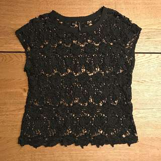 Mango Black Lace Blouse