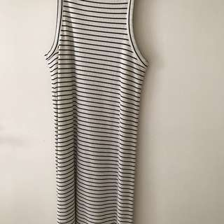 topshop white ribbed striped dress