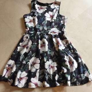 instock | tropical floral print halter neck dress