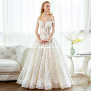Wedding Gown Off Shoulder V Neck Sexy Princess Aline