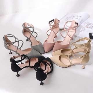 🚚 預購®️韓系一字扣尖頭高跟鞋細根綁帶女鞋交叉繞腳低跟鞋素面素色尖頭鞋5公分8公分