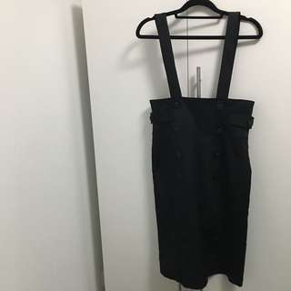 Black High cut Skirt With Straps