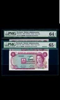A/1 999999 & A/1 1000000 Bermuda QEII 1970 $5 First Prefix Solid No PMG 64 & 65 GEM UNC EPQ