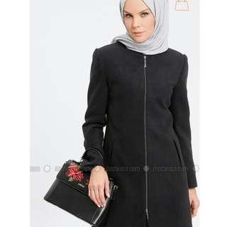 Modanisa black coat long outerwear