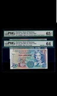 A 999999 & A 1000000 Guernsey 1995 £5 First Prefix Solid No PMG 64 & 65 GEM UNC EPQ