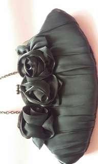 黑色網紗料立體玫瑰cluth