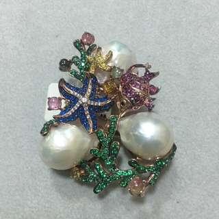 純銀鍍玫瑰金異型珍珠胸針吊墜兩用
