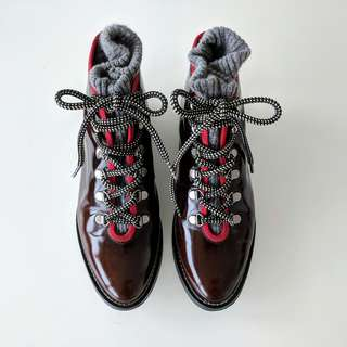 OPENING CEREMONY // Dress Leather Ankle Boots // EU 36 / Barely used / Red trim Black white laces Grey knit detail / Made in Portugal
