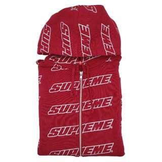 Supreme SS18 Repeat Zip Up Hooded Sweatshirt Cardinal
