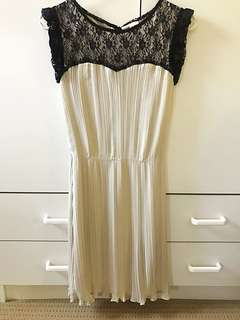 Beige Pleated Dress w/ Black Lace