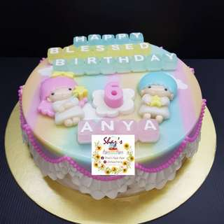 "Customised Little Twin Stars"" 🌟🌟 Jelly Agar Agar Birthday Cake"