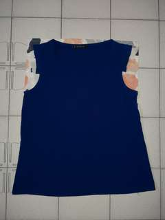 MANGO Basics Blue V-Neck Top