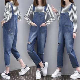 (XL~5XL) Women's suit Korean version of the loose hole jeans pants jumpsuit T-shirt two-piece