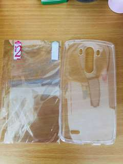 LG G3 套裝 透明手機套+高清保護貼