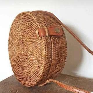 Bali Round Wicker Straw Rattan Bag