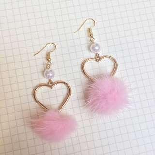 Heart Pompom Earrings 💘