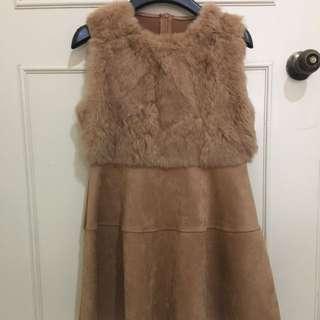 駝色麂皮洋裝