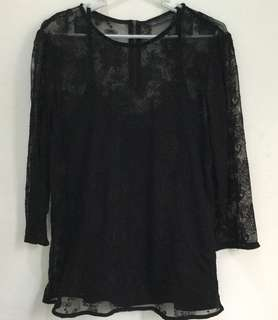 Marks & Spencer black lace top with tank top