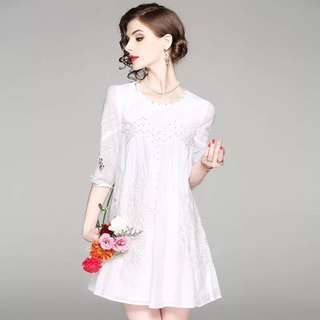White beaded cotton embroidered dress