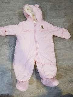 Carter's onesie puffer winter overalls hoodie bear furry 3 to 6 mths