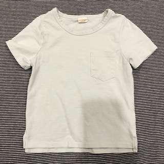 日系兒童短袖素棉T - 100/湖水綠