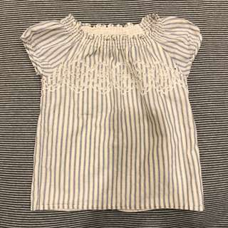 Baby Gap 女童棉麻短袖上衣 - 3T