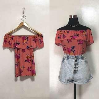 [Brandnew] Peachy Floral Off Shoulder