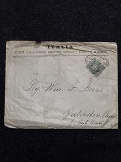 Italy 1899 5c Arms of Savoy Envelope Genova Ferrovia Squared Circle Cancel, Genova to USA