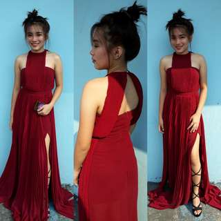 Wine red gown for rent