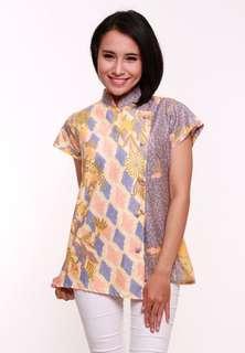 R363 danielle - Blouse batik pastel wanita kekinian