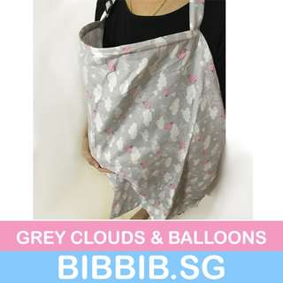 Nursing Cover/Breastfeeding Cover - Grey Clouds and Balloons
