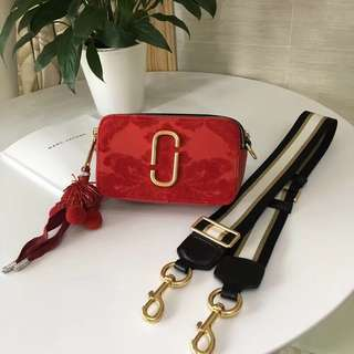 Marc Jacobs Snapshot Camera Bag - funky suede red