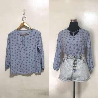 [Brandnew] Blue Oversized Floral Long Sleeves